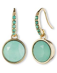 Brands   Earrings   Goldtone and Jade Crystal Drop Earrings   Lord and Taylor