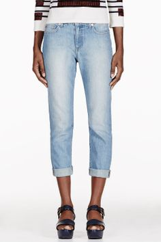 BAND OF OUTSIDERS Blue Faded Boyfriend Jeans