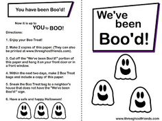 """FREE printable - includes letter """"You Have Been Boo'd"""" and sign """"We've Been Boo'd"""" - Great for a little fun in your neighborhood this halloween!"""