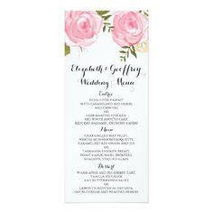 Modern Vintage Pink Floral Wedding Menu Card
