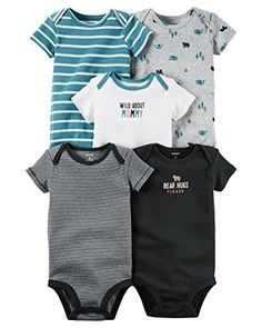 Carter's Baby Boys' 5 Pack Bodysuits (Baby) - Wild About Mommy 12M