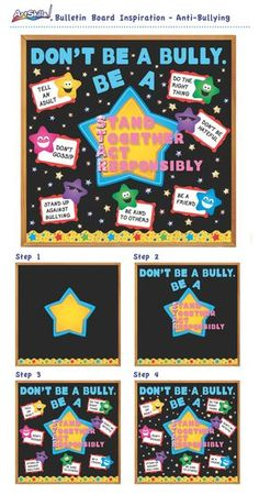 "Bulletin Board Inspiration: Anti-Bullying - ""Don't Be a Bully, Be a S. Bullying Bulletin Boards, Counselor Bulletin Boards, Classroom Bulletin Boards, Star Bulletin Boards, Elementary School Counseling, School Social Work, School Counselor, Anti Bullying Week, Anti Bullying Activities"