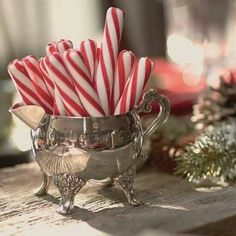 Red & White Christmas décor ideas to make Santa Feel at home – Saudos Candy canes in silver for a Christmas tea party. Southern Christmas, Merry Little Christmas, Winter Christmas, Christmas Holidays, French Country Christmas, Christmas Farm, Christmas Train, Christmas Island, Christmas Villages