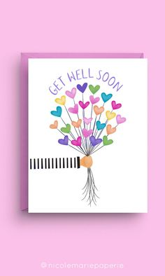 Get Well Soon Balloon Card Measures x Includes size purple envelopePrinted on 100 lb. white card stockBlank inside for your own personal message Get Well Messages, Get Well Wishes, Get Well Soon Gifts, Diy Cards Get Well, Funny Get Well Cards, Diy Birthday Gifts For Dad, Birthday Cards, Feel Better Cards, Card Drawing