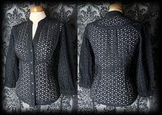 Gothic Black Detailed Bib VICTORIAN GOVERNESS High Neck Blouse 8 10 Vintage - £24.00
