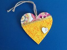 Decoupaged 10cm Hanging Heart (yellow cracked) £3.50