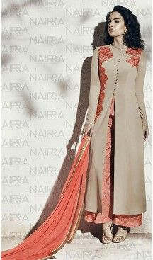 Tan Brown Color Georgette Party Wear Designer Stitched Palazzo Suits with…