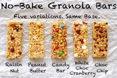 No-bake granola bars are a perfect summer snack! Plus kids can get creative and put whatever they want in their granola bars! No Bake Granola Bars, Chewy Granola Bars, Kind Granola Recipe, Muesli Bars, Summer Snacks, Lunch Snacks, School Snacks, School Lunch, Kid Lunches