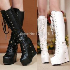 Womens Platform Wedges Lace Up Knee High Boots Punk Goth Creepers