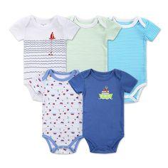 Newborn Baby Clothes Animal Print Short Sleeve Cotton Baby Boy Romper Girl Ruffle Romper infantil Costumes