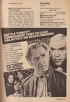 Old School Science Fiction: Photo Sci Fi Tv Shows, Sci Fi Series, Kampfstern Galactica, Lloyd Bridges, Girls Tv Series, Battlestar Galactica 1978, Star Show, Movie Facts, Tv Ads