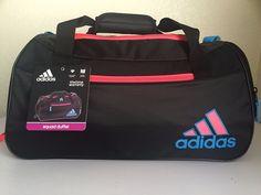 2d97a8ff2266 ADIDAS Squad II Duffel Women Gym bag Black Flash Red Aqua Ventilated shoe  tunnel
