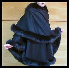New Black Classic 100 Lined Cashmere Cape Sexy Soft Fox Fur Coat Wrap Poncho | eBay