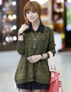 Hot Sale Stylish All-match Loose Splicing Chiffon Pullovers                    _Pullovers_Sweaters_Wholesalekingdom.net