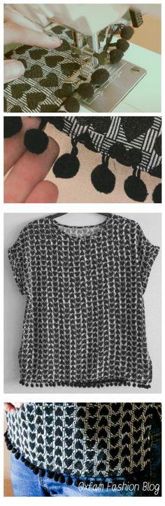 DIY How To Pom Pom Split T-Shirt Top Upcycling Customising Edit