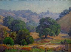 """Paul Grimm """"California Oaks and Hills"""" 12x16 Oil on Board"""