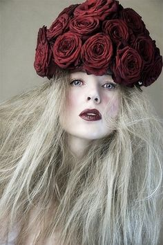 Her red rose hat Expressive Portrait Photo by photographer David Charles at Model Society Rose Hat, Pamela, Shades Of Red, Headgear, Rose Buds, Fascinator, Her Hair, Red Roses, Red Flowers