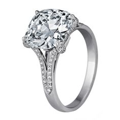Elegant Cushion Cut Diamond Ring | From a unique collection of vintage engagement rings at http://www.1stdibs.com/jewelry/rings/engagement-rings/