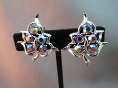 VTG Sarah Coventry Earrings Dazzling Aurora AB Red Rhinestone Clip On Silver  #SarahCoventry #ClipOn SOLD!