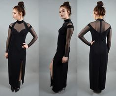 All eyes on you. Killer 1990s Tadashi maxi gown. This dress will have you turning heads without a doubt. Featuring a high mesh sweetheart