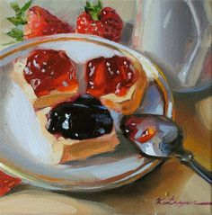 """Blackberry  and  Strawberry Jam"" - Original Fine Art for Sale - © Elena Katsyura"