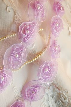 Organza Ribbon Shabby Rosettes Trim with Pearls