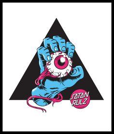 Santa Cruz/Jim Phillips homage spoofing the modern day obsession with occult symbolism Satan Rulz Skateboard Design, Skateboard Art, Graffiti Lettering, Graffiti Art, Graphic Design Illustration, Illustration Art, Illustrations, Desenho New School, Skateboard Companies