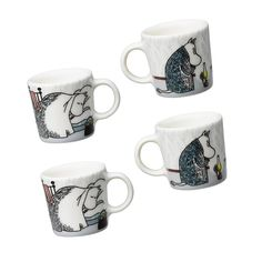 Moomin winter season minimugs 2015, only made as a limited set.Minimugs come in a set of four and they are perfect ornaments to beused as a decoration for example in your Christmas Tree! In this edition of the Moomin winter minimugs we find Moominmamma andMoomintroll. The designis based on Tove Jansson's original artwork which Tove Slotte has interpreted in these lovely minimugs. Minimugsaremanufactured by Arabia. Size: width 3,4 cm, heigt 3cm.Muumi talvi minimukit 2015 - Talviuni…