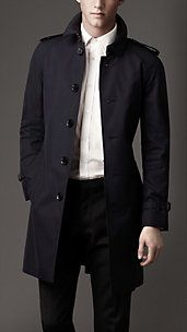 Mens Fashion Mid-Length Cotton Gabardine Burberry Trench Coat