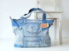 Denim bag vintage Levi's 501 with metall zipper, denim tote bag, jeans bag, beach bag, bags and purses, pool bag, recycled denim bag by Lowieke on Etsy