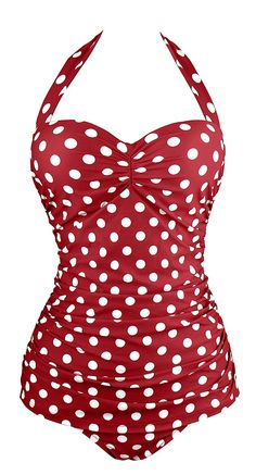 Angerella Retro Polka Dot One Piece Pin Up Monokinis Swimsuit Angerella Vintage Inspired Style Pin Up Halter Swimsuit Monokinis One Piece Swimwear Bathing Suits Women's Swimsuits & Cover Ups, Plus Size Swimsuits, Cute Swimsuits, Women Swimsuits, Vintage One Piece Swimsuits, Halter One Piece Swimsuit, One Piece Swimwear, Pin Up, Retro Outfits