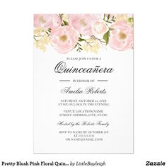 Pretty Blush Pink Floral Quinceanera Invitation More floral Quinceanera invitations in the Little Bayleigh store! We have used artwork from: www.createthecut.com Fun birthday party invites - customize your invitations. #birthdayparty #invites #invitations #quinceanera