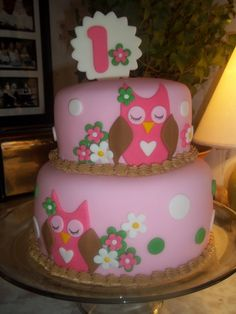 Pink Owl First Birthday Cake