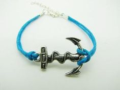 Vintage Style silvery Anchor blue ropes women by braceletcool