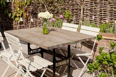 Singer upcycled garden table | 3 Bed Renovated Hertfordshire Victorian Terrace | http://rockmystyle.co.uk/rebeccas-victorian-home-tour/