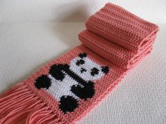 Panda Bear Scarf.  Pink crochet scarf with black and by hooknsaw, $42.00