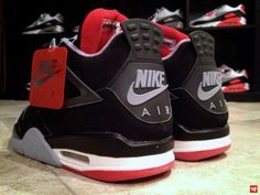 """1999 Air Jordan 4 Retro """"Breds"""". One of the first pairs I bought for myself. Sadly, they've gone to that big sneaker closet in the sky... *sigh*"""