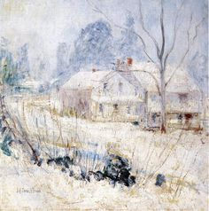 Country House in Winter, Cos Cob (ca. 1901), By John Henry Twachtman