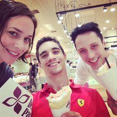 Johnny's Instagram: Crèpes Party with some silly Euro Stars. @nathaliepechalat @javiersk8r #Nathalie Pechalat #Javier Fernandez #Jonny Weir
