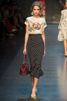I'm not sure about the shoes, but this is an interesting look from Dolce and Gabbana Spring 2014 RTW.