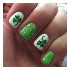 Saint Patricks Day Nails found on Polyvore