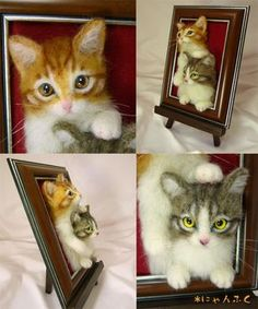 Needle Felted cat's by cute animal1, via Flickr