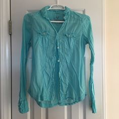 Selling this SALEAEO Tiffany Blue Button Down in my Poshmark closet! My username is: marinajolene. #shopmycloset #poshmark #fashion #shopping #style #forsale #American Eagle Outfitters #Tops