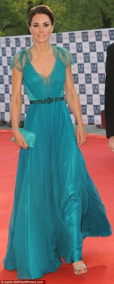 By Jenny Packham. Such a lovely turquoise blue!