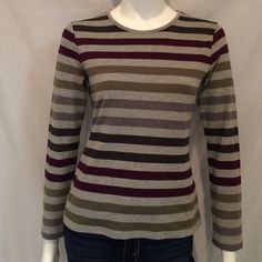 """Stripe Women's Croft & Barrow Crewneck Sweater. Stripe Women's Croft & Barrow Crewneck Sweater. Measurements: Armpit to armpit 18"""", Length of sweater 23"""", Length of sleeves 22.5"""".60% Cotton, 40% Polyester. Machine Wash Cold. Croft & Barrow Sweaters Crew & Scoop Necks"""