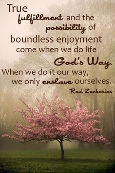 True fulfillment and the possibility of boundless enjoyment come when we do life God's way. When we do it our way, we only enslave ourselves. -- Ravi Zacharias
