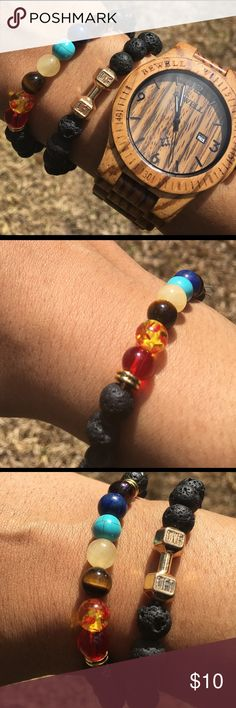 Lava Bracelet With Colorful Chakra Stones Unisex stretch Lava Bracelet with colorful natural chakras stones. Just selling the one bracelet. All jewelry shown including watch is available for sale. Evolve Always Accessories Jewelry