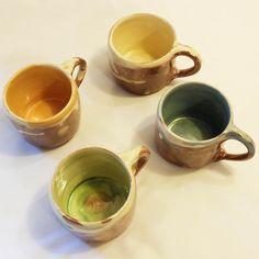 Handmade Coffee Mugs. Ceramic, pottery cream, green, blue, orange cups, mugs by ThomasMorleyCeramics on Etsy