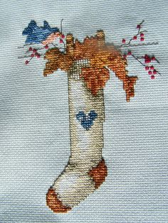 Completed Cross Stitch Hand Embroidery FALL by WitsEndDesign