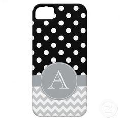 Gray Chevron and Black Polka Dots Custom Monogram iPhone 5 Case